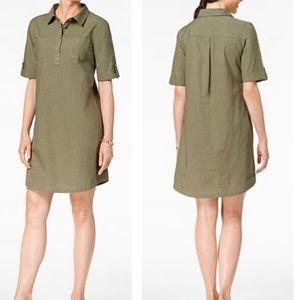 Karen Scott Woven Shirtdress Olive Spring XS